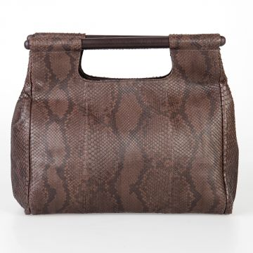 Python Leather Hand Bag with Two Handles