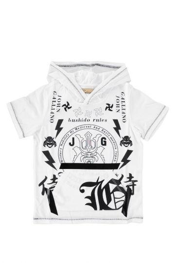T-shirt in Jersey di Cotone Con Cappuccio