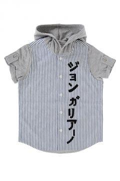 Camicia in Cotone a Righe con Cappuccio