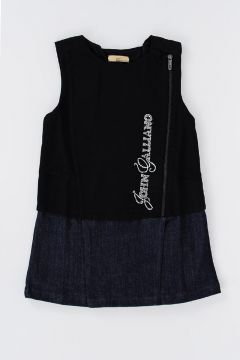 Sleeveless Dress With Denim skirt