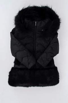Down Padded Jacket With Real fur details