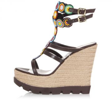 13 cm BELIZE wedge sandals with beads
