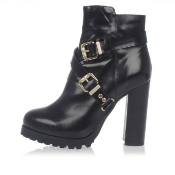 Leather MERCER ankle Boots With Gold Tone Buckles