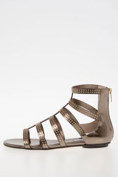 Leather Flat Sandals With gold Tone Studs