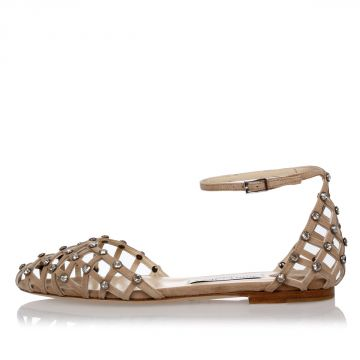 Leather Crystal Studs DAVINIA Sandals