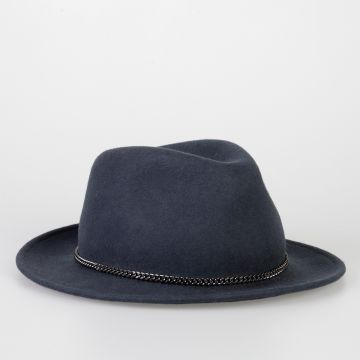 Wool Fedora Hat with Chain Detail