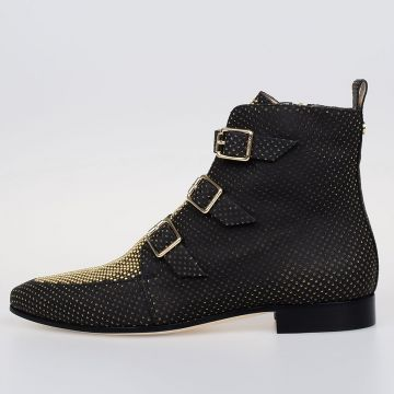 Leather Ankle Boots With Gold Tone Studs