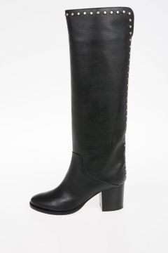6cm Leather Boots With Studs