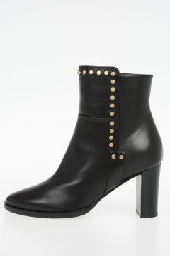 Leather HARLOW Ankle Boots with Studs 7 cm