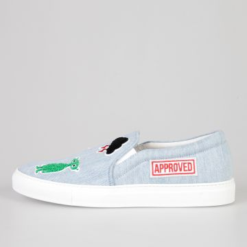 Denim PANIMARO LIGHT Slip On Sneakers with Patches