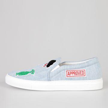 Sneakers Slip On PANIMARO LIGHT in Denim con Patch