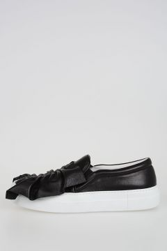 Leather Slip Ons with Ruches