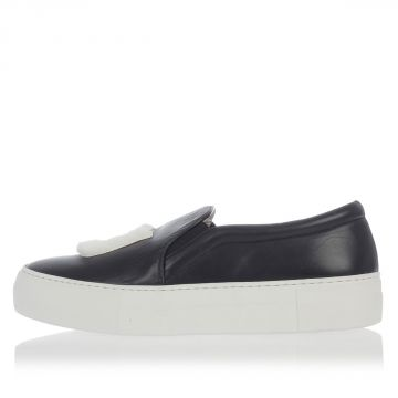 Flatform Leather Slip On Shoes