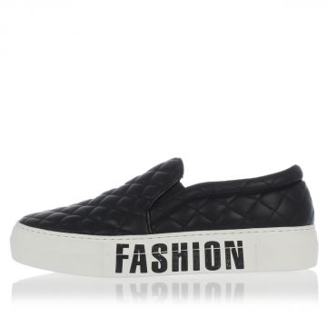 Quilted Leather FASHION VICTIM Slip On Sneakers