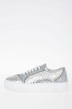 Sneakers in Pelle con Glitter