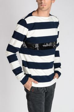 Striped Sweatshirt with Sequins