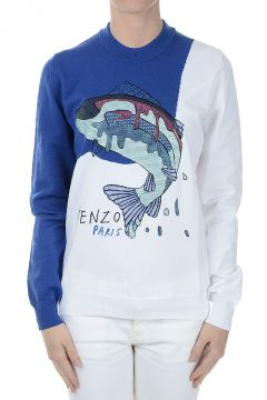 Round-Neck Sweatshirt Fish Print