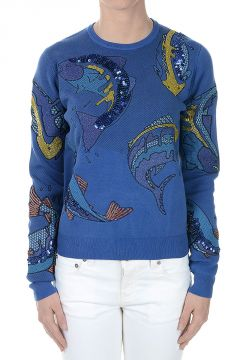 Fishes Round-Neck Sweatshirt with Paillettes