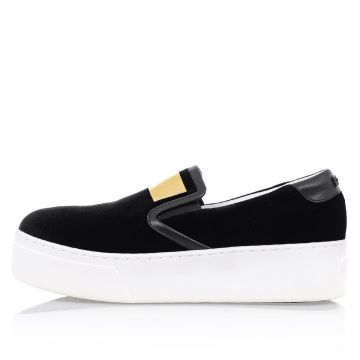 Velvet Slip on With Gold Tone Details