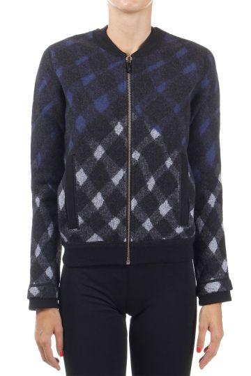 Back printed wool jacket