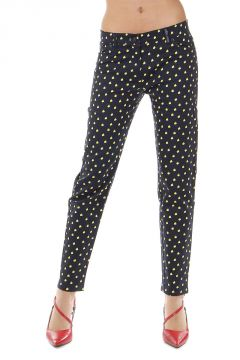 Denim stretch abstract pattern trousers