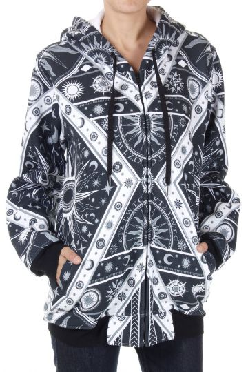 Abstract pattern zipped and hooded Sweatshirt