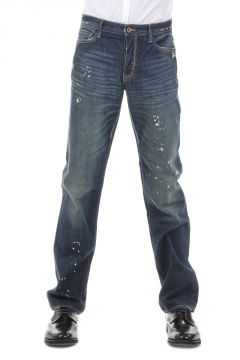 Jeans in Denim con Schizzi di Vernice 21 cm