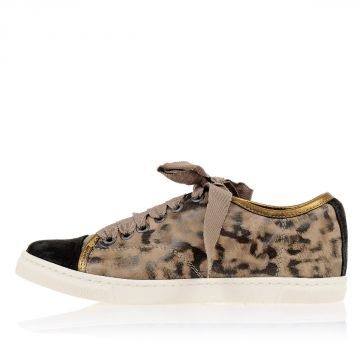 Sneakers BASKET Basse in Pelle Stampa Leopardo