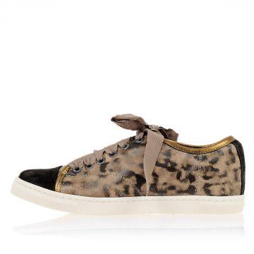 Sneakers BASKET Basse in Pelle Stampa Leopardo