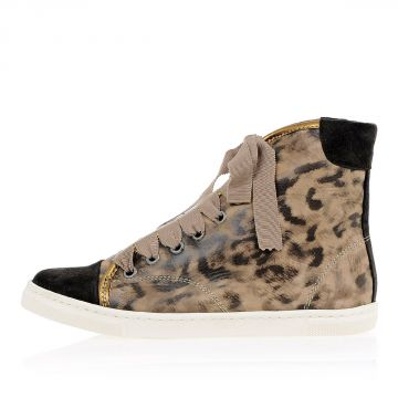 Sneakers BASKET Alte in Pelle Stampa Leopardo