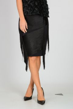Wool Blend Fringed Skirt
