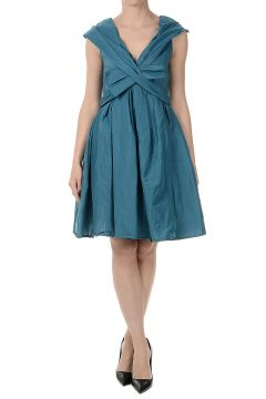 Linen Blend Cut Sleeveless Pouf Dress