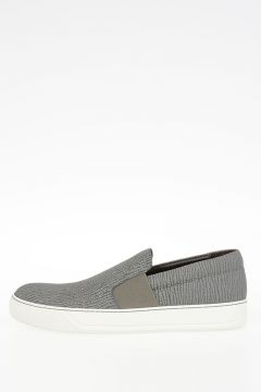 Matt Grained Leather Slip-On Sneakers