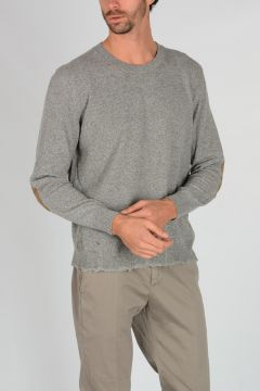 Wool Blend Sweater with Suede Patches