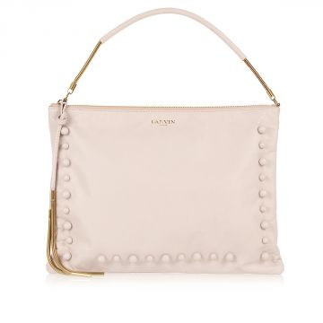Leather Pochette with Pearls