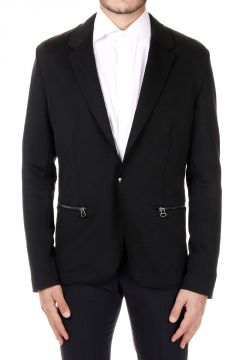 Single-Breasted Creased Jersey Blazer