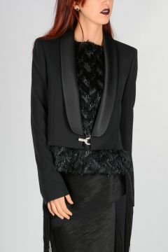 Wool Blazer With Ribbon and Jewels Details