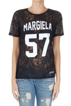 T-Shirt in Dentelle con Stampa