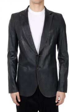 Single Breasted Blazer in Faux Leather