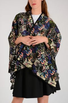 Butterflies Embroidered Poncho