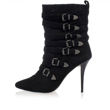 Suede Ankle Boots with Lace Heel 11 cm
