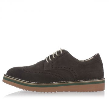 Suede Derby with Brogue Detail