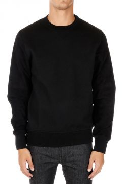Round Neck Sweatshirt With Leather Sleeves