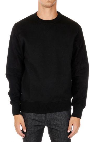 Round Neck Sweatshirt With Leather Sleeves
