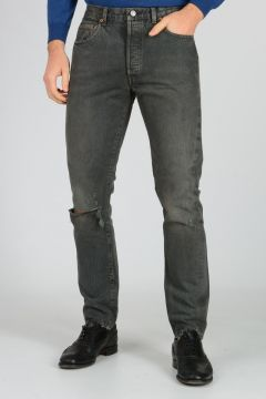 Jeans in Denim di Cotone Destroyed 18 cm