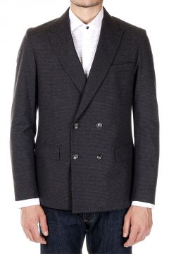 Mixed Wool and Cotton Double Breasted Jacket