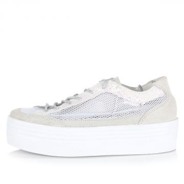 Leather Sneakers with mesh and glitter inserts