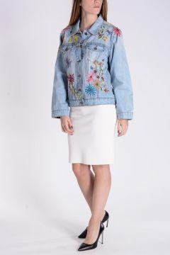 Giubbotto in Jeans Con Ricami Floreali