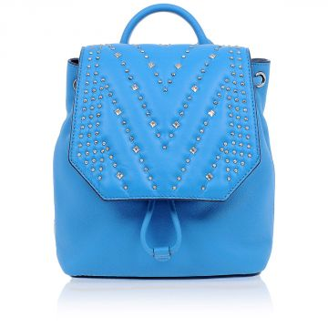 Leather Mini Backpack with Swarovski Crystal