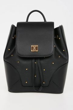 Studded Leather & Fabric Backpack